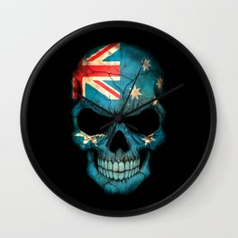 Dark Skull with Flag of Australia Wall Clock