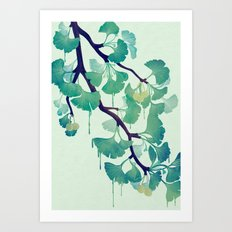 O Ginkgo (in Green) Art Print