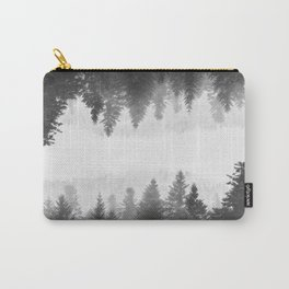 Black and white foggy mirrored forest Carry-All Pouch
