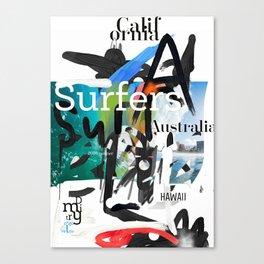 Surfers scribble Ocean Canvas Print