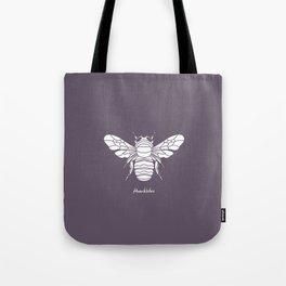 Humblebee White on Purple Background Tote Bag