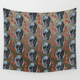 Skulls and Poppies - Red, Blue, Green - Halloween Vintage Theme Wall Tapestry