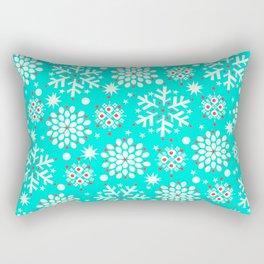 Retro Winter Collection Snowflake Teal Rectangular Pillow