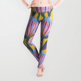 Bold Protea Flower Pattern - Pink Blue Green Purple Yellow Leggings