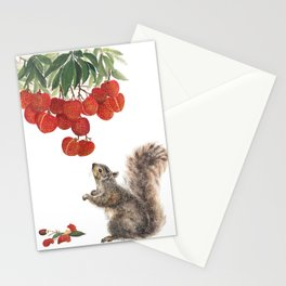 Squirrel and lychee Stationery Cards