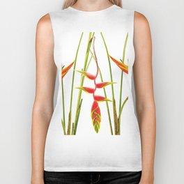 3 Exotic Jungle Flowers Helikonias white background Biker Tank
