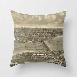 Vintage Pictorial Map of Trenton NJ (1900) Throw Pillow