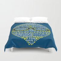 lemon Duvet Covers featuring Lemon by Staberella