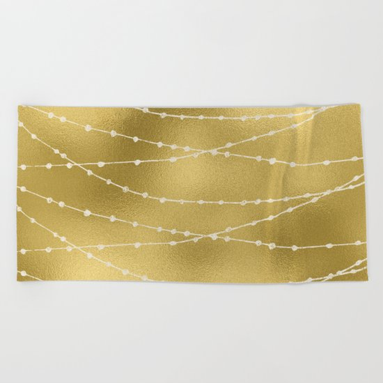 Merry christmas- white winter lights on gold pattern Beach Towel