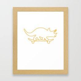 Triceratops Skateboard Funny Animal Dino Kids Gift T-Shirt Framed Art Print