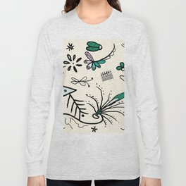 Soft white nature sketch whimsical Long Sleeve T-shirt