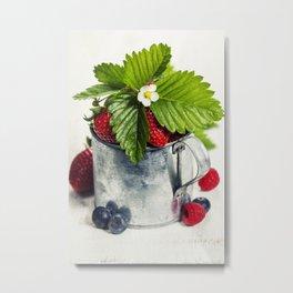 Fresh Berries on Wooden Background. Metal Print