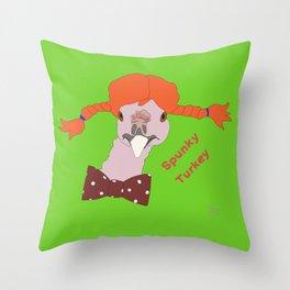 Spunky Turkey Orange Hair GB TX Throw Pillow