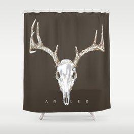Deer Skull Antlers on Dark Dark Taupe Shower Curtain