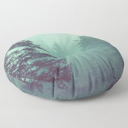 Forest Fog Fir Trees Floor Pillow