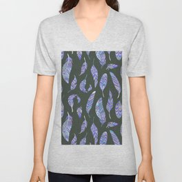 Hand painted modern purple violet bohemian feathers pattern Unisex V-Neck
