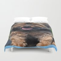 yorkie Duvet Covers featuring Yorkie by Sammycrafts