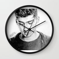 zayn Wall Clocks featuring Zayn by Drawpassionn