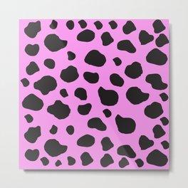 Animal Print (Cow Print), Cow Spots - Pink Black  Metal Print