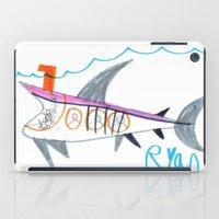 submarine iPad Cases featuring Shark Submarine by Ryan van Gogh