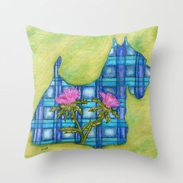 Scottish Terrier Silhouette Throw Pillow