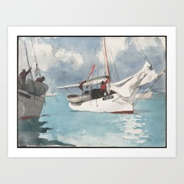 Fishing Boats Key West Watercolor Painting Art Print