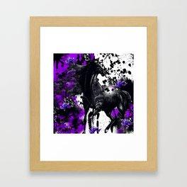 HORSE BLACK AND PURPLE THUNDER INK SPLASH Framed Art Print