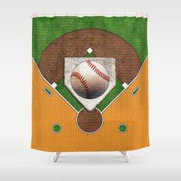 Baseball Field, Base and Ball over Orange Sports Pattern Shower Curtain