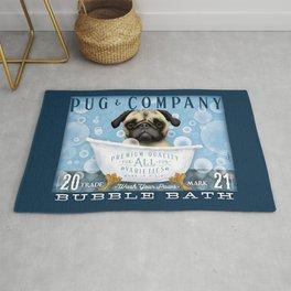 Pug dog bubble bath clawfoot tub art stephen fowler Rug