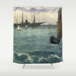 """Edouard Manet - Le """"Kearsarge"""" à Boulogne Shower Curtain"""