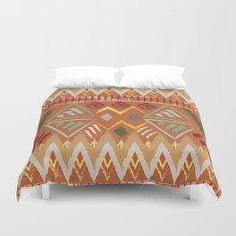Orange Boho Tribal Pattern Duvet Cover