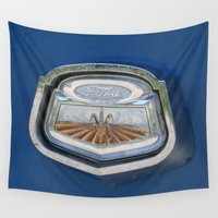 ford Wall Tapestries featuring Vintage FORD Truck Badge by Andrea Jean Clausen - andreajeanco