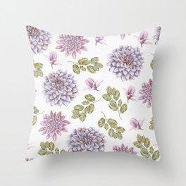 Lavender Rose Garden Floral Pattern Throw Pillow