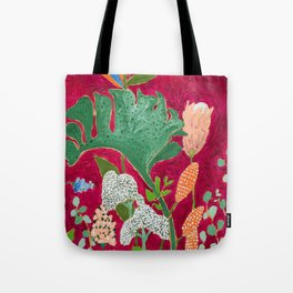Fuchsia Pink Floral Jungle Painting Tote Bag
