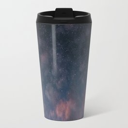 Glowing Moon on the night sky through pink clouds Travel Mug