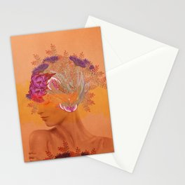 Woman in flowers III Stationery Cards