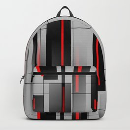 Off the Grid - Abstract - Gray, Black, Red Backpack