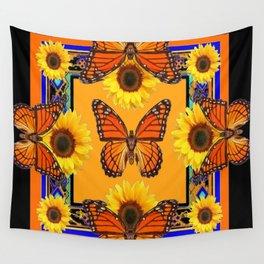 Western Black & Orange Monarch Butterflies  Sunflower Patterns Art Wall Tapestry