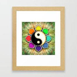 Yin Yang - Flower Rainbow Colors Framed Art Print