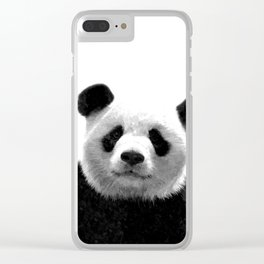 Black and white panda portrait Clear iPhone Case