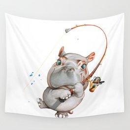 A hippopotamus fishing Wall Tapestry