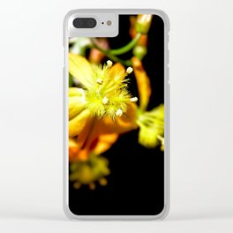 Bulbine flower on black Clear iPhone Case