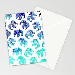 Boho turquoise blue ombre watercolor hand drawn mandala elephants pattern Stationery Cards