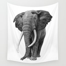 Bull elephant - Drawing in pencil Wall Tapestry
