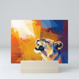 In the Sunlight - Lion portrait, animal digital art Mini Art Print