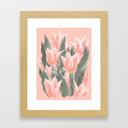 Stylish Peach Tulips Flowers Watercolor Illustration, coral pink color background. Boho style Framed Art Print