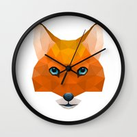 mr fox Wall Clocks featuring Mr Fox by MrWhite