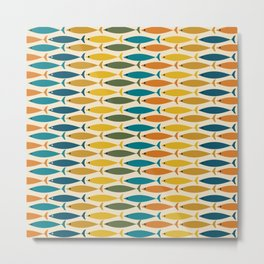Mid-Century Modern Fish Stripes in Moroccan Stained Glass Teal, Green, Orange, Mustard, and Cream Metal Print