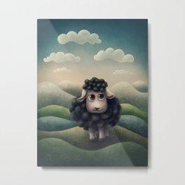 Cute illustration of a black sheep Metal Print
