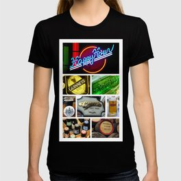 Happy Hour Neon Collage - Bar or Kitchen Decor T-shirt
